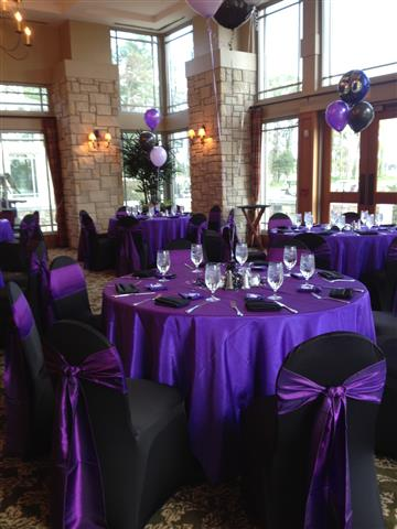 Reception setup with purple and black setup